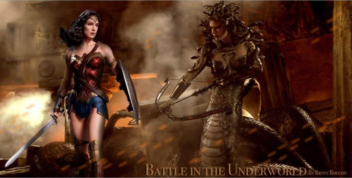 Wonder Woman v Medusa: Battle in the Underworld by renstar71