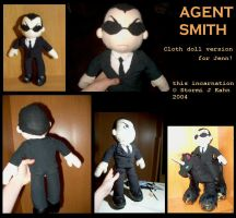 Agent Smith doll for Jenn by greenglowingeyes