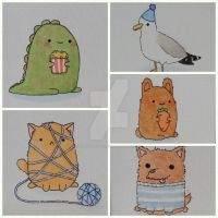 Five adorable watercolour greeting cards by Knuckers-Hollow