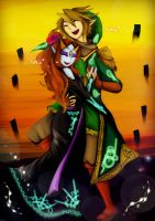 Happy dancing of midna and Link by Christy58ying