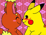 Pikachu and Buneary by MarioSonicfans2000
