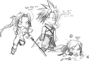 Chibi Aeris, Cloud, and Tifa by ToxicAssassin