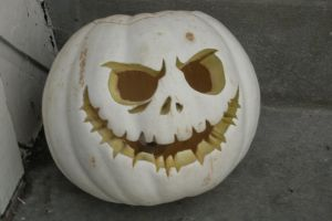 Jack Skellington White Pumpkin by childofsatan2002