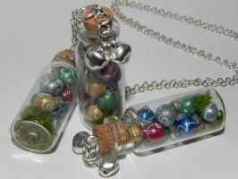 Christmas Ornaments Bottle Necklace, Miniature Chr by Secretvixen