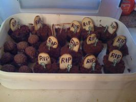 Zombie Graveyard and Chocolate Brain Cupcakes by MoonAssassin