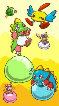 Bubble Bobble (and/or Puzzle Bobble) by Whirlboom94