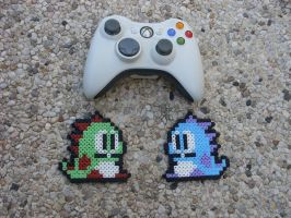Bubble Bobble - Bub and Bob - Perler Bead Sprite by BigBossFF