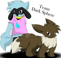 Mio The Eevee And Keira The Riolu Team Dark Sphere by Zander-The-Artist