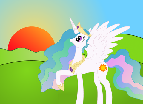 Celestia raising the sun (vectored) by TheOmNom
