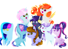 mlp chibi group shooting stars by Cloudilicious