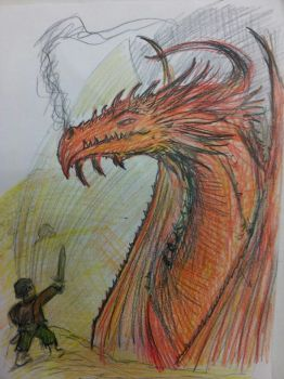 WSG Quick sketch Bilbo and Smaug from The Hobbit by Ditch-scrawls