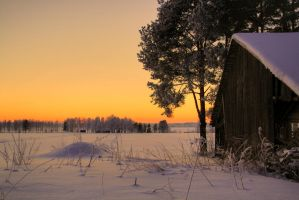 Winterbarn at the lake by Kaukkari