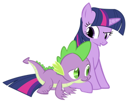 mlp/ twilight and spike 01 by L33sAh