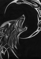 Tribal Wolf Of The Cresent Moon by theblackalma13
