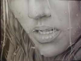 lips and wet face by BURA25