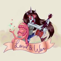 Love and War - PB and Marceline by trinity-angel777