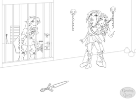 Captured Arill -Lineart- by GamingGirl73