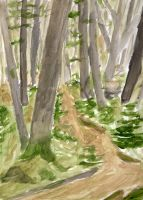 Forest Water Colors Study 2 by GraphixS6