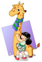 A girl and giraffe 2 by jkBunny