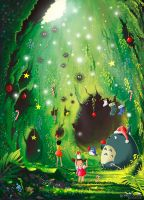 Totoro's Christmas Cave - greeting card by Syntetyc