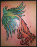 Rainbow Phoenix tattoo by hellcatmolly