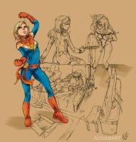 Captain Marvel and Friends by AlivanArt