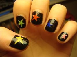 Starry nails by luminousleopard