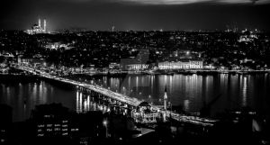 Istanbul in the Night From Galata Tower B W by yavuzozer