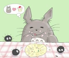 Totoro with Cupcake 2 by Twinky-Dink
