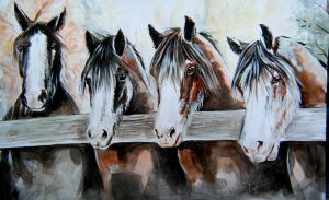 Four Clydesdale Friends - Watercolour by lalabellexx