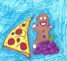 Grapes, Pizza, and Gingerbread Man by SonicClone