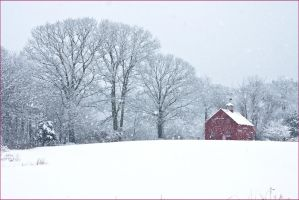 Red Barn in Snow by muffet1