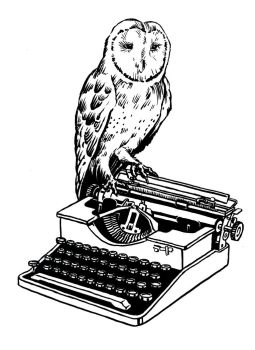 Barn Owl and Typewriter by mlauritano