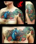 Peacock Feather Chest Tattoo by Jackie Rabbit by jackierabbit12