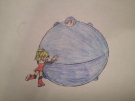 pc: roll hugging inflated megaman by vivere-sectam129