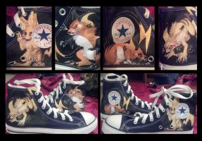 Pikachu and Raichu Shoes by Brokenfeather-san