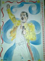 Freddie Mercury with yellow jacket by Mary-Aisha