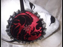 Red and black damask eyepatch by PurrpleCatt