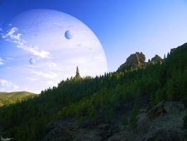 Giant planet over the horizon by Kaslito