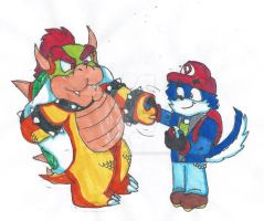 Rq: Shaking hands with bowser by MarioGamer2000