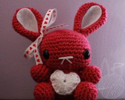 Pink Valentine's Day Bunny - for sale on Etsy by theyarnbunny