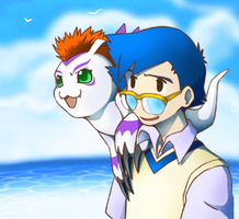 jyou and gomamon by SxAxCxHxIxExL