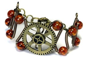 Steampunk Bracelet brass Gear and amber by CatherinetteRings