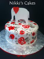 Hand Painted Elephant Babyshower Cake by Corpse-Queen