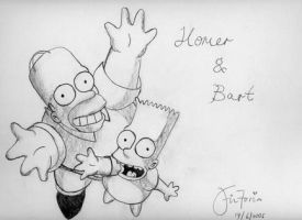Homer,Bart Simpson by forgottenvic