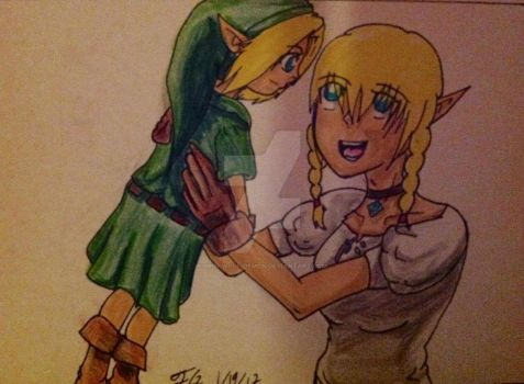 Linkle holding young link by Grim-Wolf-Demon