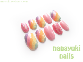 rainbow nails by Nanayuki