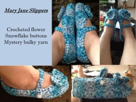Blue Mary Jane Slippers by adagiobreezes