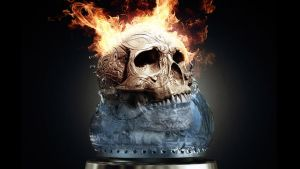 Fire & Water Skull by JohnnyX91