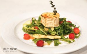Roquette Leaf, Pear and Roasted Goats Cheese Salad by DulcetEpicure